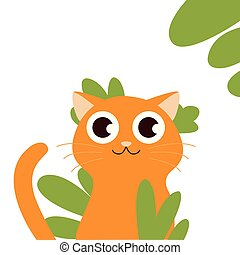 Cute fat orange cat makes a funny face. Holiday Vector Illustration