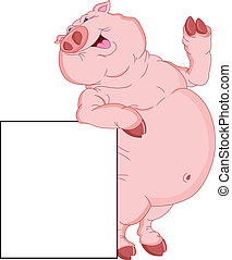 cute fat pig with blank sign