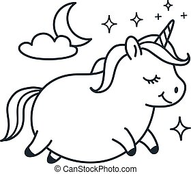 Cute fat unicorn doodle cartoon character vector illustration. Simple line black and white icon isolated on white. Funny coloring book page, kids decor, fantasy, dreams, sleep, body positive theme.