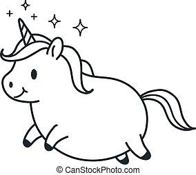Cute fat unicorn simple doodle cartoon character vector illustration. Simple line black and white icon isolated on white. Funny coloring book page, kids decor, fantasy, dreams, body positive theme.