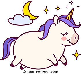 Cute fat unicorn with purple mane doodle cartoon character ...
