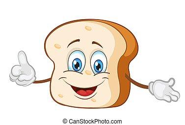 cute, fatia, personagem, ilustração, vetorial, pão