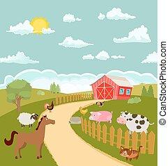 cute, fazenda, ilustração, animals., vetorial, caricatura