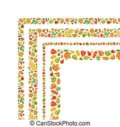 cute, feito, quatro cantos, folhas, isolado, outono, branca