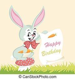 cute, feliz aniversário, coelhinho, cartão