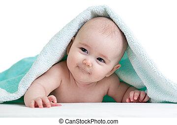 cute, feliz, bebê, em, toalha