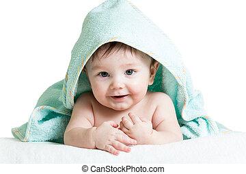 cute, feliz, bebê, em, toalhas