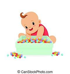 cute, feliz, bebê senta-se, e, tocando, com, caixa, cheio, de, multicolored, pequeno, bolas, caricatura, personagem, vetorial, ilustração
