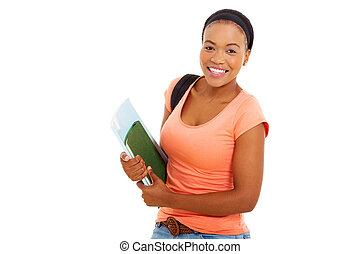 female african american college student holding books