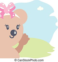 cute female bear baby animal isolated icon