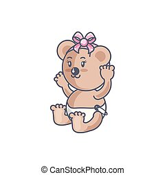 cute female bear baby animal isolated icon
