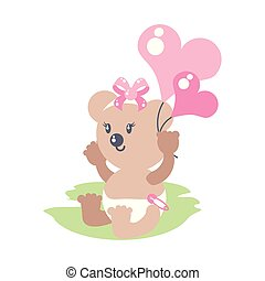 cute female bear baby with balloons helium in heart shape