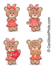 Cute Female Bear in Pink Dress with Bow on Head