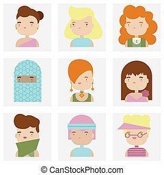 Cute female character faces flat icons