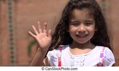 Cute Female Child Waving Hello