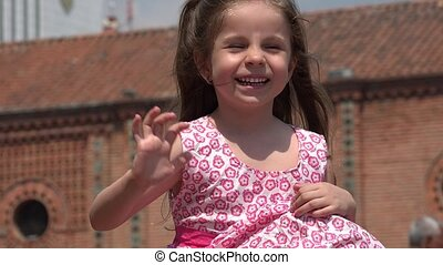 Cute Female Child Waving