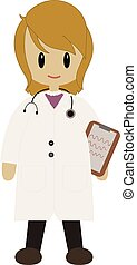 Cute female Doctor in lab coat - a cute female cartoon ...