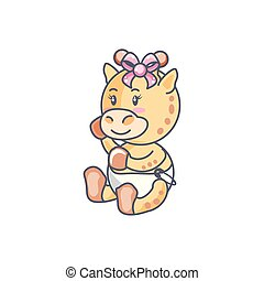 cute female giraffe baby animal isolated icon