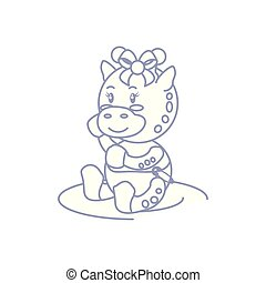 cute female giraffe baby animal isolated icon