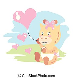 cute female giraffe baby with balloon helium in heart shape