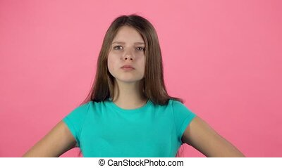 Cute female is angry and unsatisfied. Slow motion - Cute...