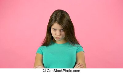 Cute female is changing her mood. Firtly she is angree...