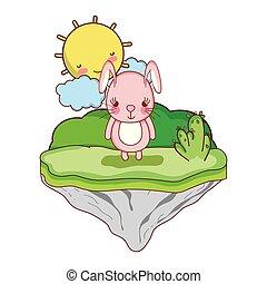 cute female rabbit in the float island