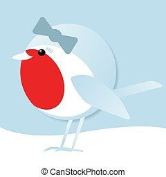 cute female robin in the snow