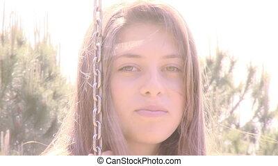 Cute female teenager smiling happy
