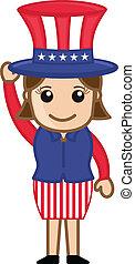 Cute Female Uncle Sam Character - Drawing Art of Cute...