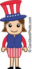 Cute Female Uncle Sam Character