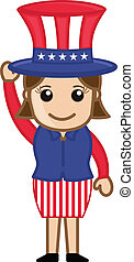 Cute Female Uncle Sam Character - Drawing Art of Cute...