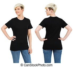 Cute female with blank black shirt - Young beautiful blond...