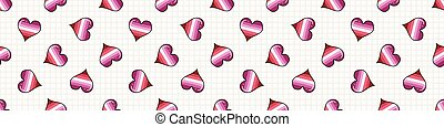 Cute femme lesbian heart cartoon seamless vector border. ...
