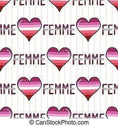 Cute femme lesbian heart with text cartoon seamless vector ...