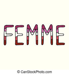 Cute femme lesbian typography cartoon vector illustration ...