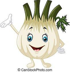 Cute fennel waving hand - Vector illustration of Cute fennel...