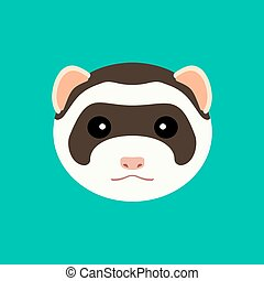 Cute ferret muzzle. Vector flat design illustration.