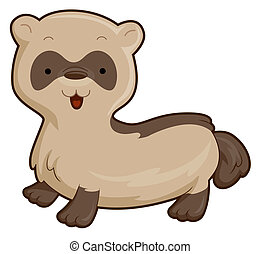 Cute Ferret with Clipping Path