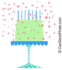 Cute Festive Birthday Cake With Confetti