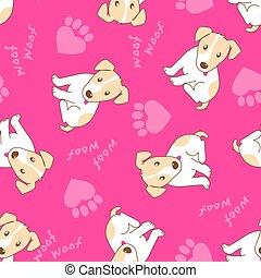 cute, filhote cachorro, cão, com, pata, corações, seamless, padrão