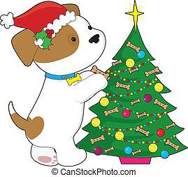 cute, filhote cachorro, com, chapéu santa, e, árvore