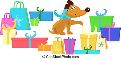 cute, filhote cachorro, com, presentes