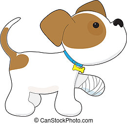 cute, filhote cachorro, com, um, magoado, pata