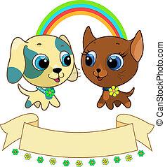 cute, filhote cachorro, e, gatinho, amizade