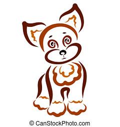 cute, filhote cachorro, marrom, engraçado, padrão, grande, orelhas, animal