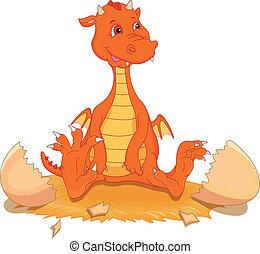 cute fire dragon cartoon hatching