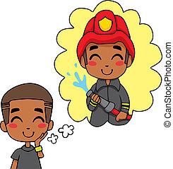 Cute Fireman Boy - Cute little black boy dreaming being a...