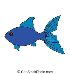 cute fish animal isolated icon