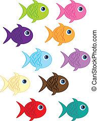 fish cartoon - cute fish cartoon isolated over white ...